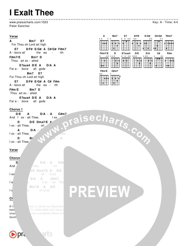 I Exalt Thee Chords & Lyrics (Pete Sanchez)