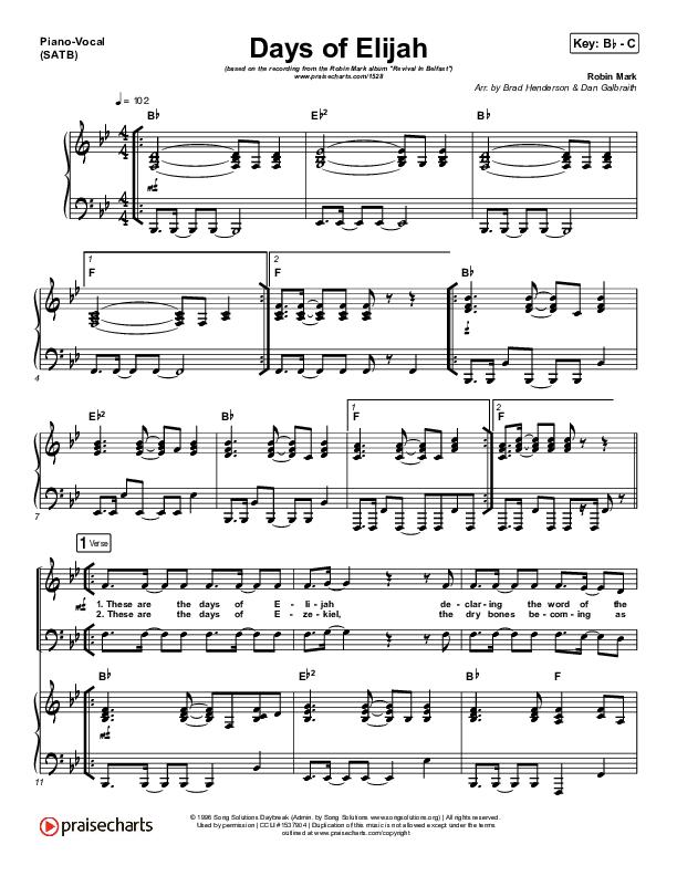 Days of Elijah Piano/Vocal (SATB) (Robin Mark)