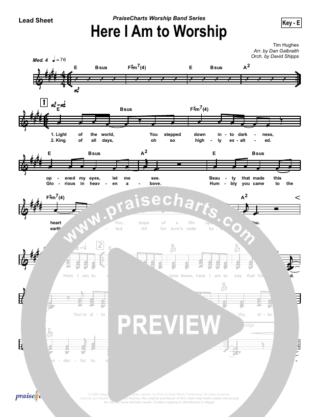 Here I Am To Worship Lead Sheet (SAT) (Chris Tomlin / Passion)