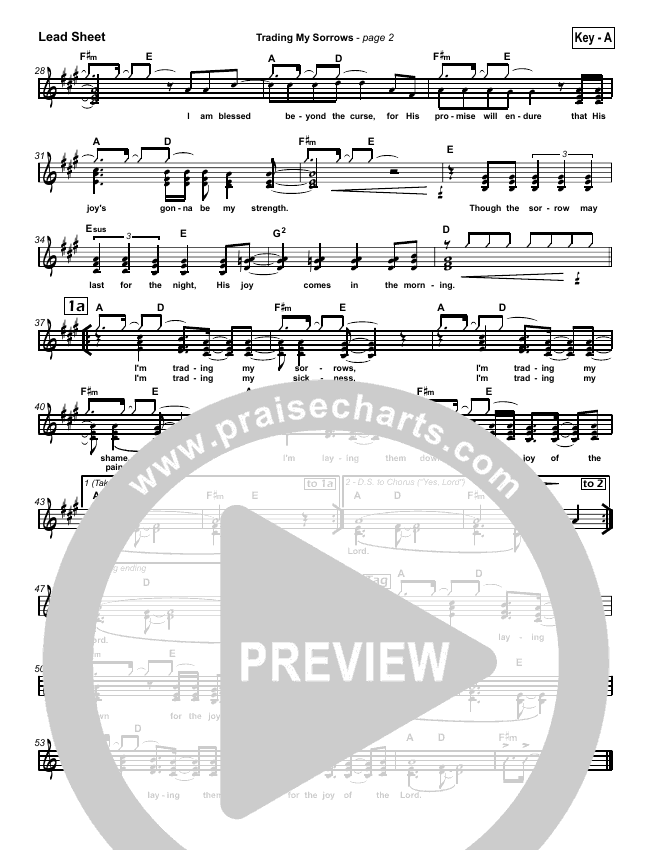 Trading My Sorrows Lead Sheet (SAT) (Darrell Evans)