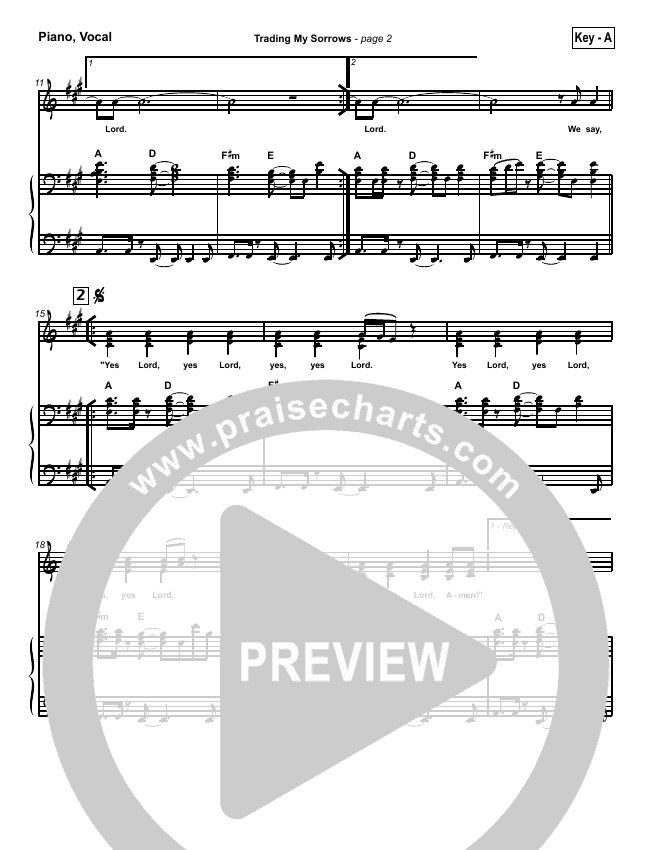 Trading My Sorrows Piano/Vocal (SATB) (Darrell Evans)