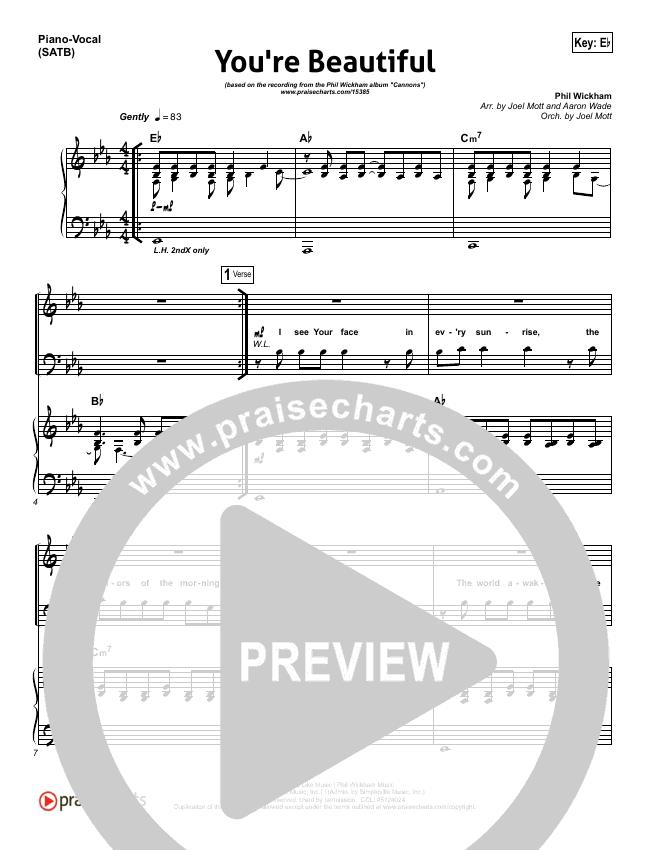You're Beautiful Piano/Vocal (SATB) (Phil Wickham)
