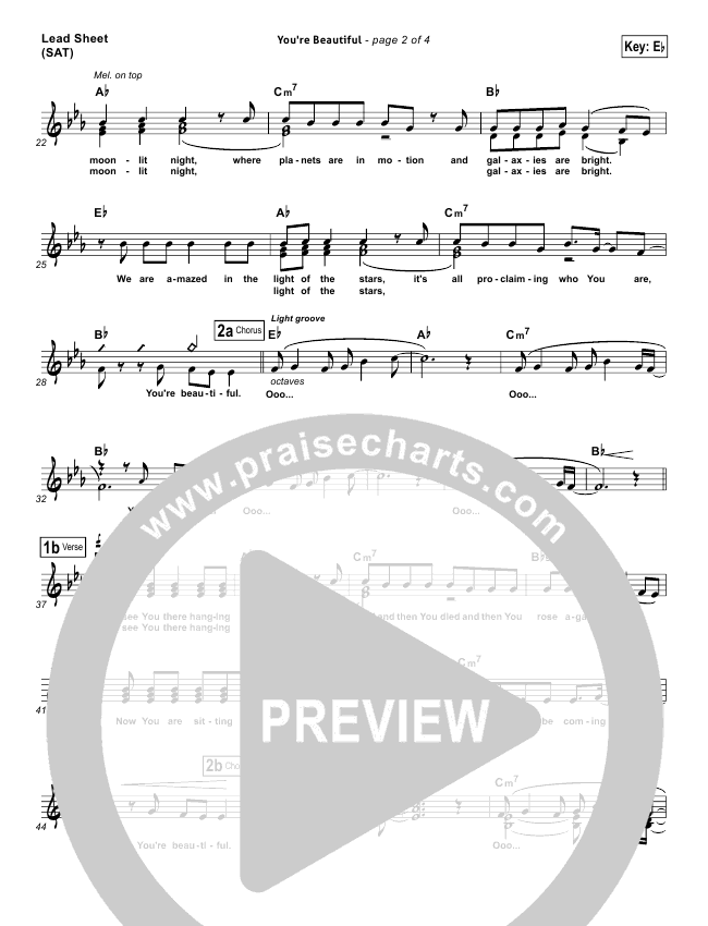 Youre Beautiful Lead Sheet Pianovocal Phil Wickham Praisecharts