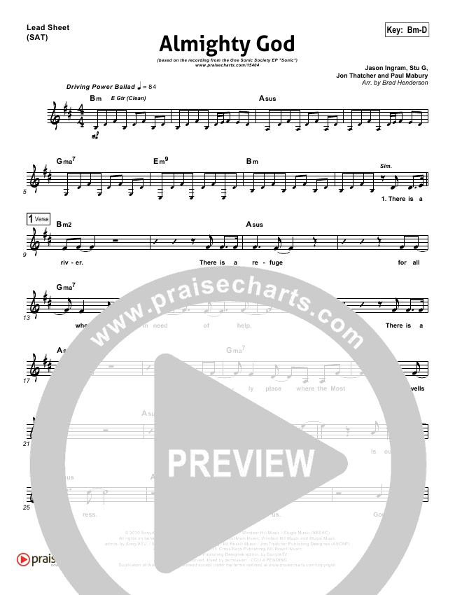 Almighty God Lead Sheet (One Sonic Society)
