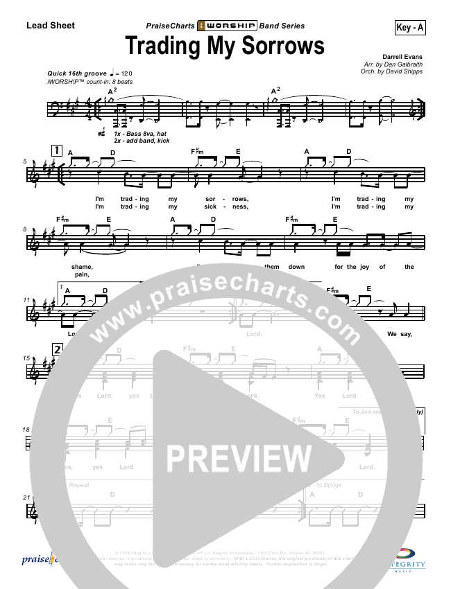 Trading My Sorrows Lead Sheet & Piano/Vocal - Darrell Evans ...