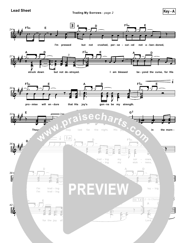 Trading My Sorrows Lead Sheet Pianovocal Darrell Evans