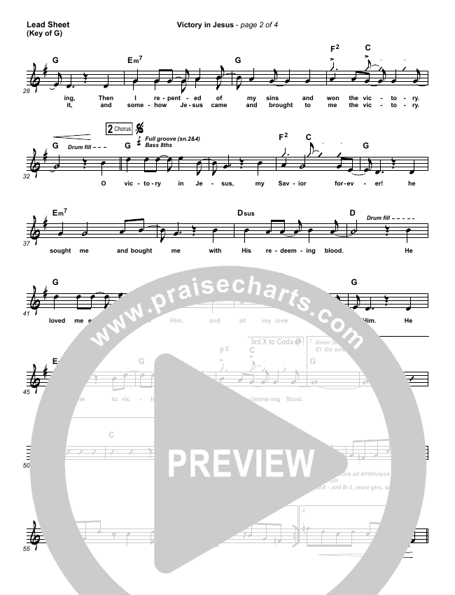 Victory In Jesus Lead Sheet (Melody) (Travis Cottrell)
