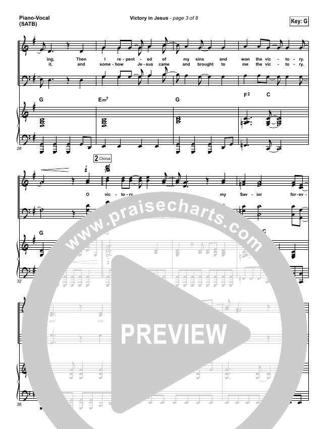 Victory In Jesus Piano/Vocal (SATB) (Travis Cottrell)