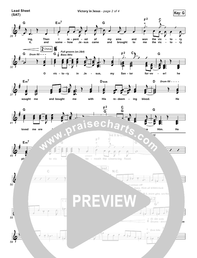 Victory In Jesus Piano/Vocal Pack (Travis Cottrell)