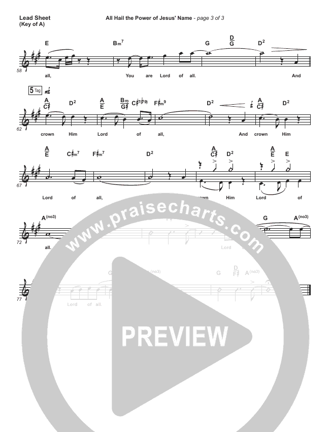 All Hail the Power of Jesus Name Lead Sheet (Melody) (Paul Baloche)