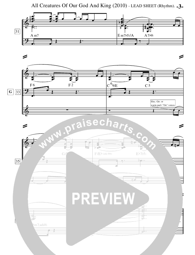 All Creatures Of Our God And King (Instrumental) Lead Sheet (Ric Flauding)
