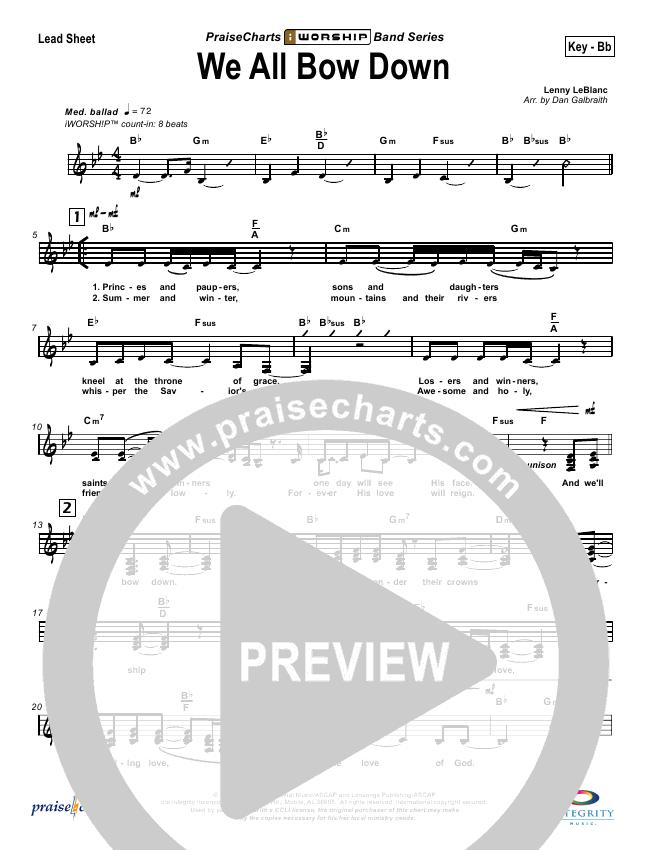 We All Bow Down Lead Sheet (Lenny LeBlanc)