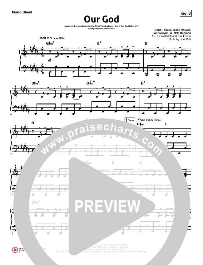 Our God  Piano Sheet (Chris Tomlin)
