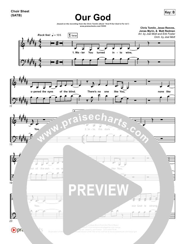 Our God  Choir Sheet (SATB) (Chris Tomlin)