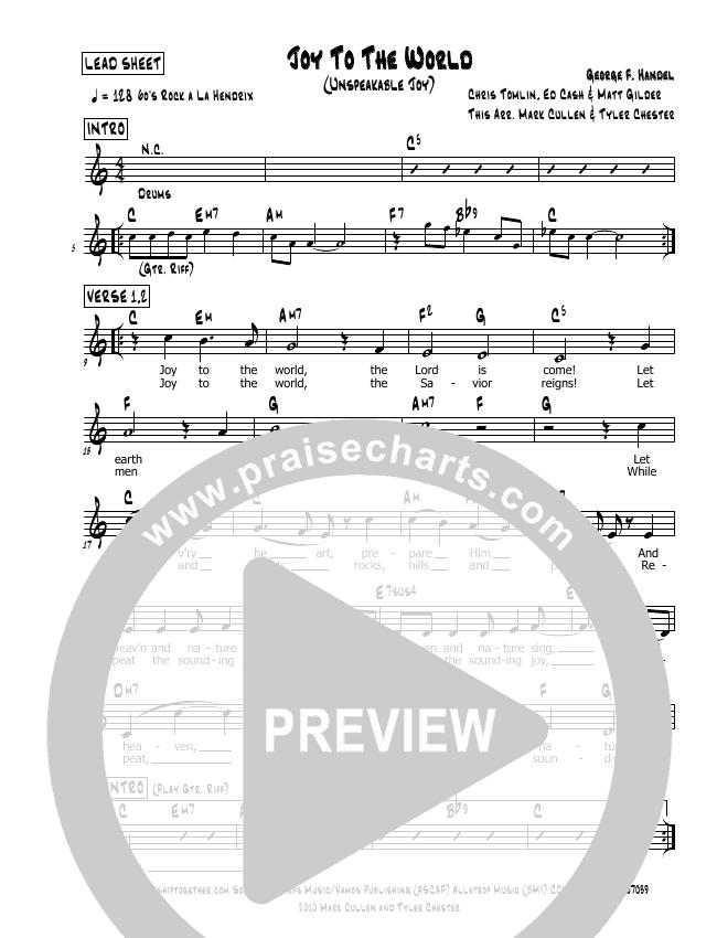 Joy To The World (Unspeakable Joy) Lead Sheet (Mark Cullen)