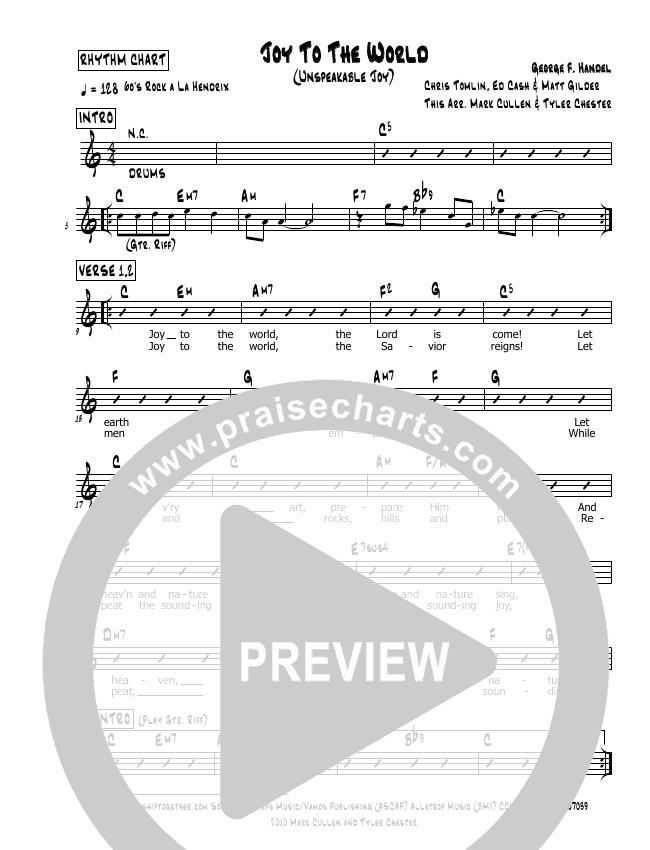 Joy To The World (Unspeakable Joy) Rhythm Chart (Mark Cullen)