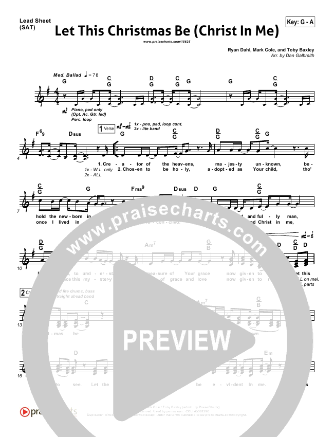 Let This Christmas Be (Christ In Me) Lead Sheet & Piano/Vocal ...