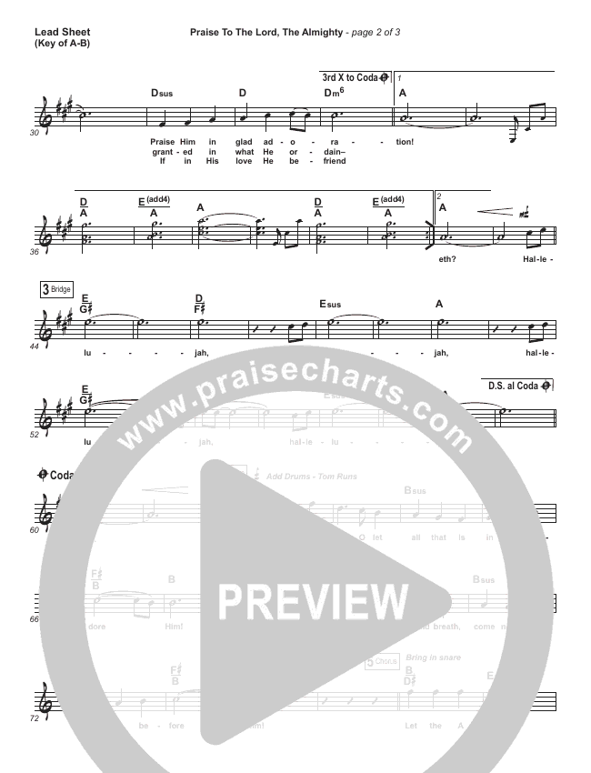 Praise To The Lord The Almighty Lead Sheet (Melody) (Christy Nockels / Passion)