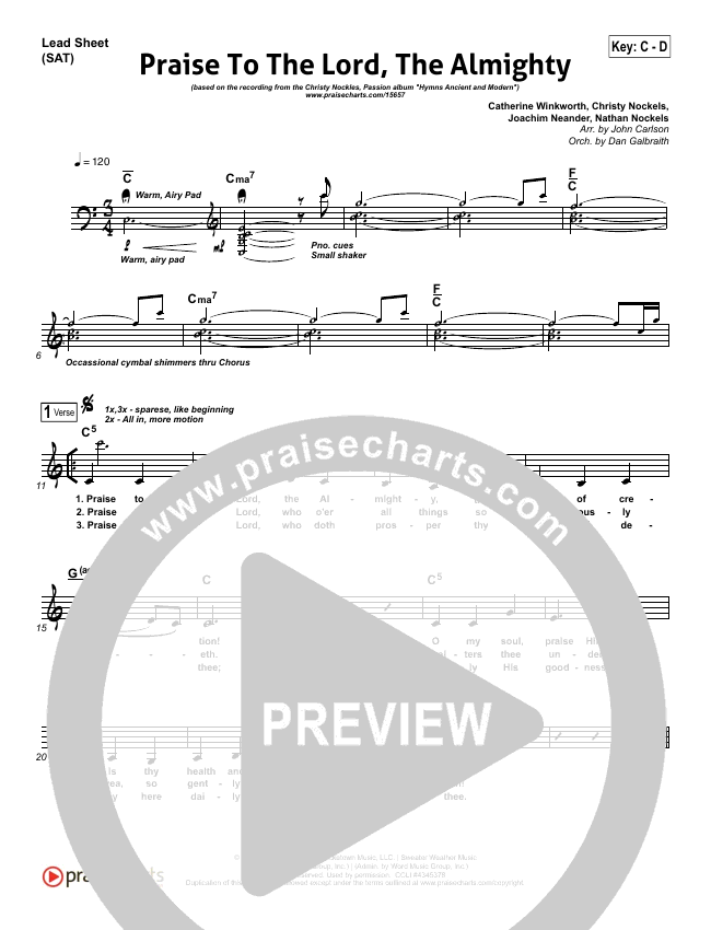 Praise To The Lord The Almighty Lead Sheet (SAT) (Christy Nockels / Passion)