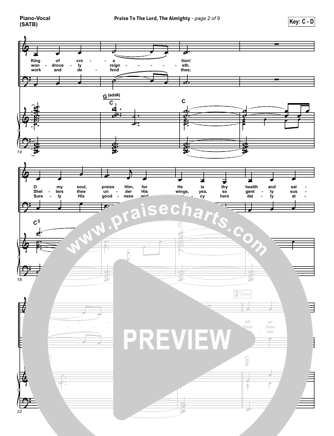 Praise To The Lord The Almighty Piano/Vocal (SATB) (Christy Nockels / Passion)