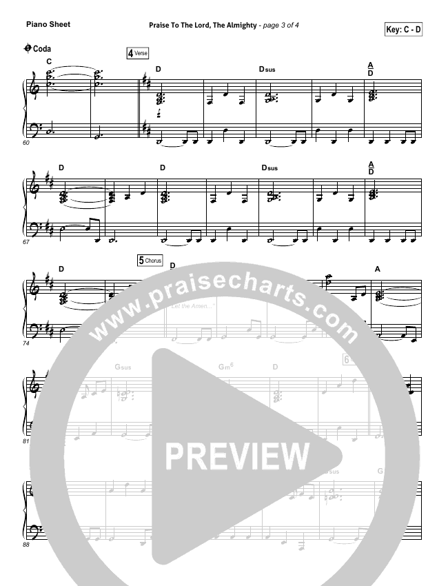 Praise To The Lord The Almighty Piano Sheet (Christy Nockels / Passion)