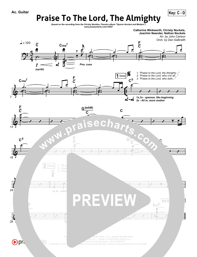Praise To The Lord The Almighty Rhythm Chart (Christy Nockels / Passion)