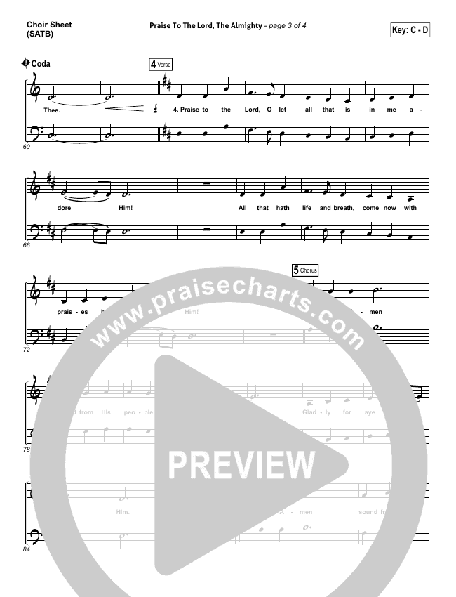 Praise To The Lord The Almighty Choir Sheet (SATB) (Christy Nockels / Passion)