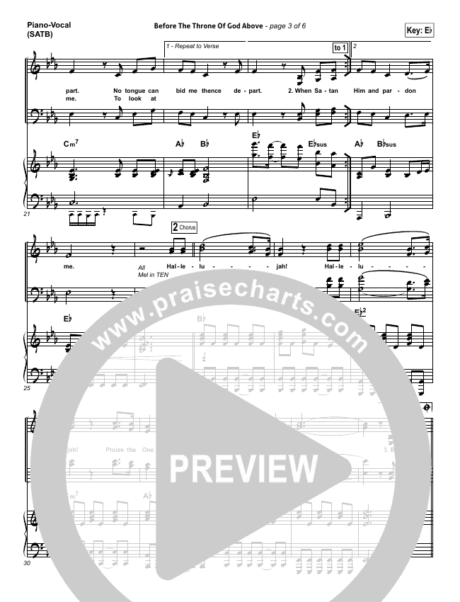 Before The Throne Of God Above Piano/Vocal (SATB) (Shane & Shane)