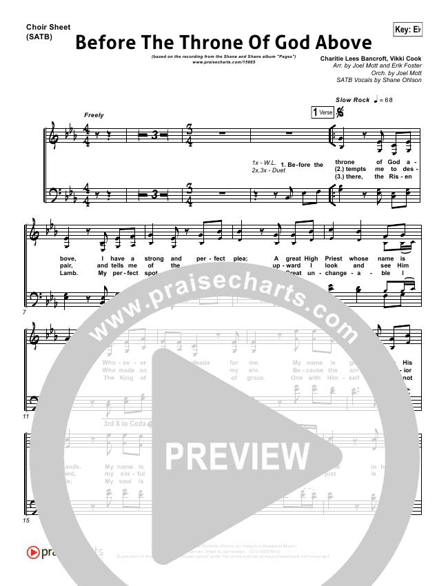 Before The Throne Of God Above Choir Sheet Satb Shane Shane