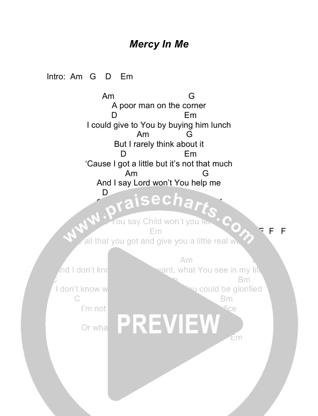 Mercy In Me Chords Todd Agnew Praisecharts
