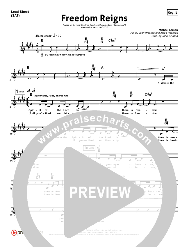 Freedom Reignslead Sheet Pianovocal Jesus Culture Praisecharts