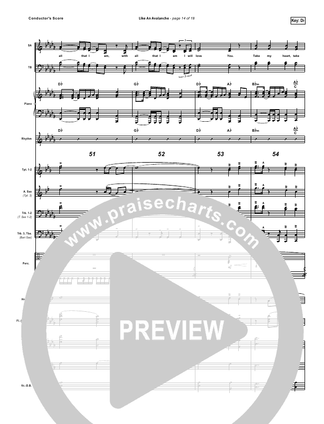 Like An Avalanche Orchestration - Hillsong United | PraiseCharts