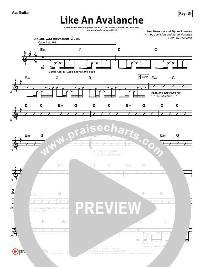Like An Avalanche Rhythm Chart - Hillsong United | PraiseCharts