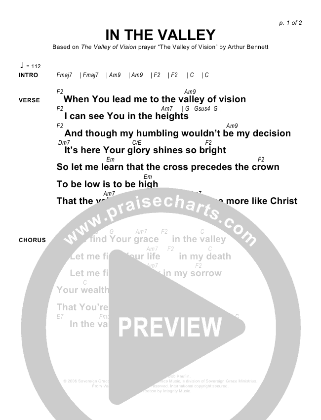 In The Valley Chords - Sovereign Grace | PraiseCharts