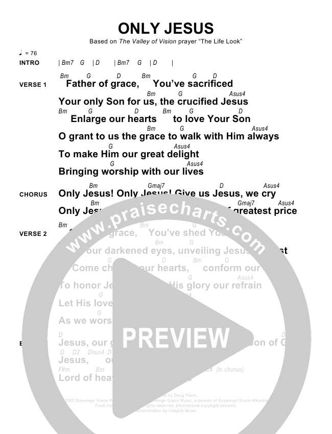 Only Jesus Chords Sovereign Grace Praisecharts