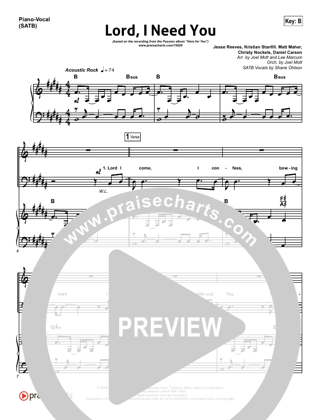 Lord I Need You Piano/Vocal (SATB) (Chris Tomlin / Passion Band)