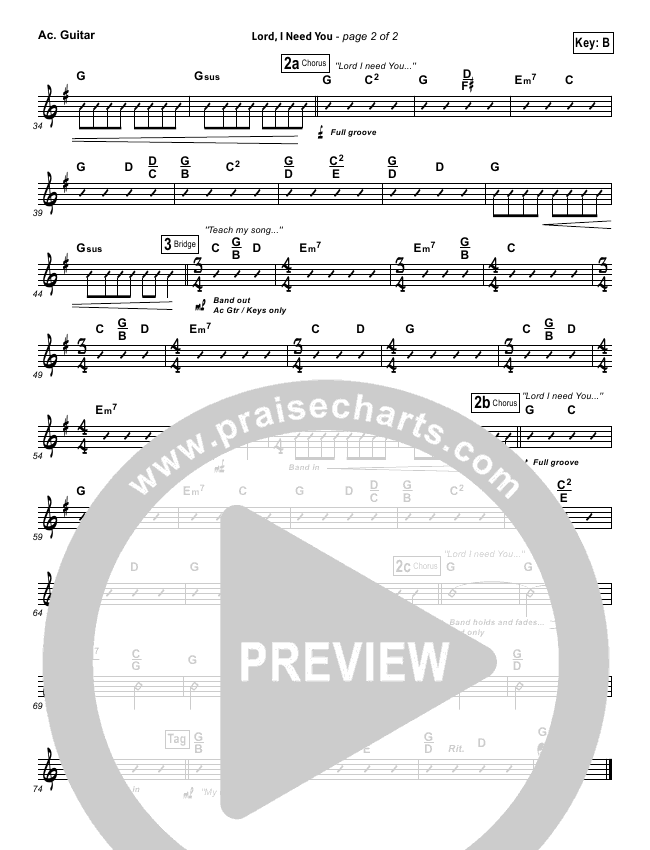 Lord I Need You Rhythm Chart (Chris Tomlin / Passion)