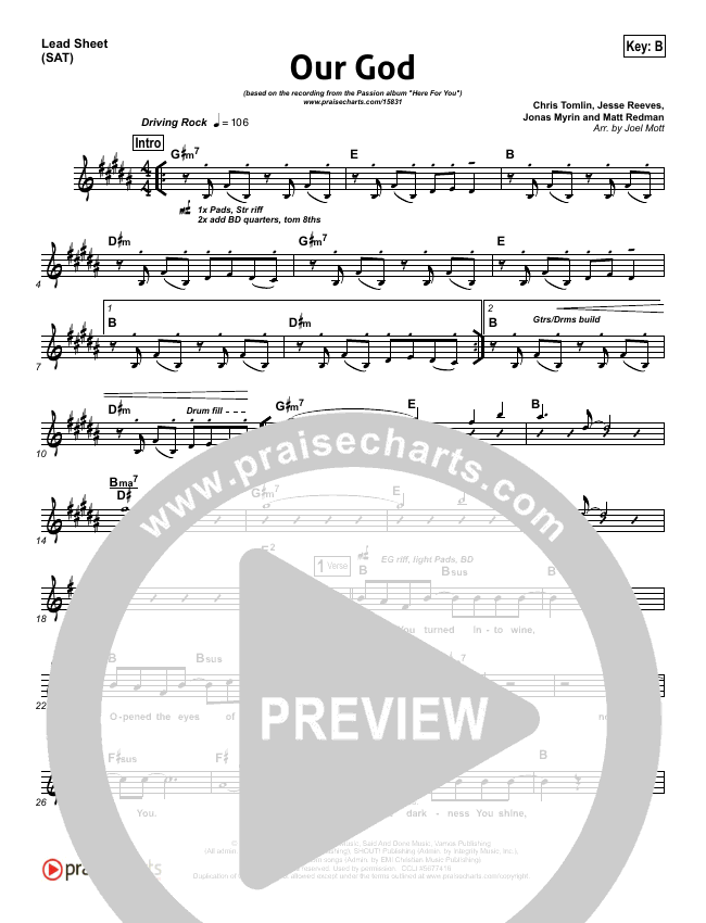Our God  Lead Sheet (SAT) (Chris Tomlin / Passion)