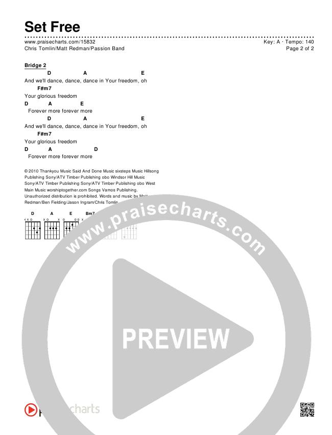 Set Free Chords & Lyrics (Chris Tomlin / Matt Redman / Passion)