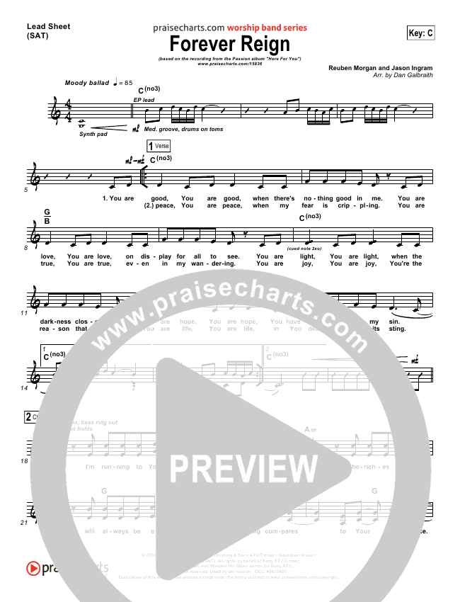Forever Reign Lead Sheet Pianovocal Kristian Stanfill Passion