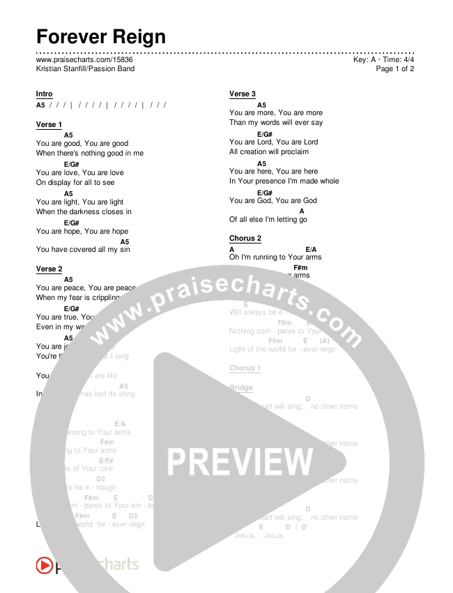Forever Reign Chords & Lyrics (Kristian Stanfill / Passion)