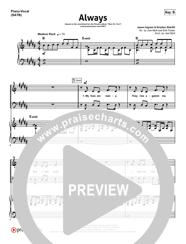 Always Piano/Vocal (SATB) (Kristian Stanfill / Passion)