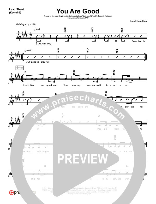 You Are Good  Lead Sheet (Melody) (Lakewood Church)