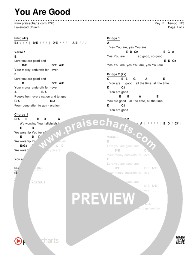 You Are Good Chords - Lakewood Church | PraiseCharts