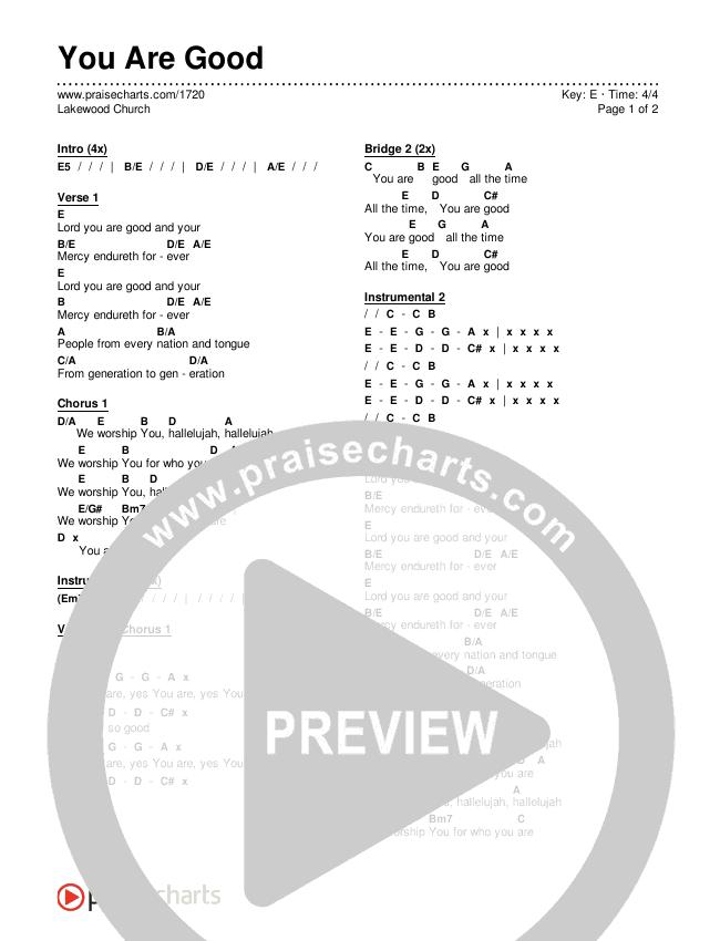 You Are Good  Chords & Lyrics (Lakewood Church)