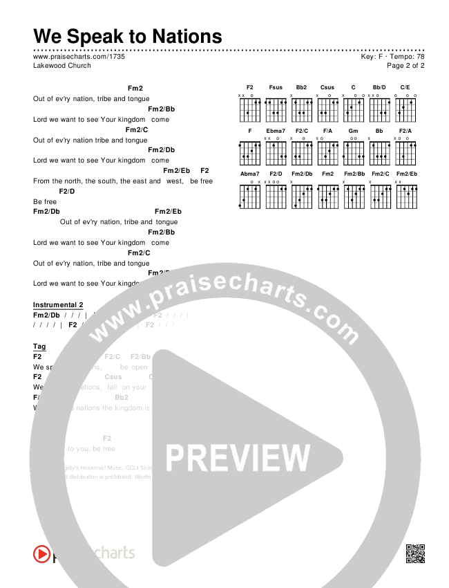 We Speak To Nations Chords & Lyrics (Lakewood Church)