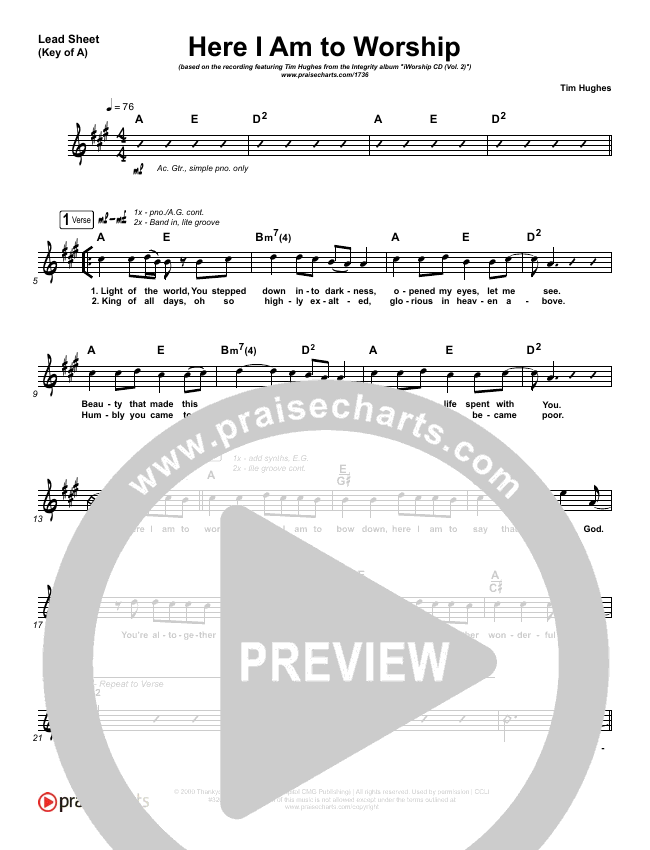 Here I Am To Worship Lead Sheet (Melody) (Tim Hughes)