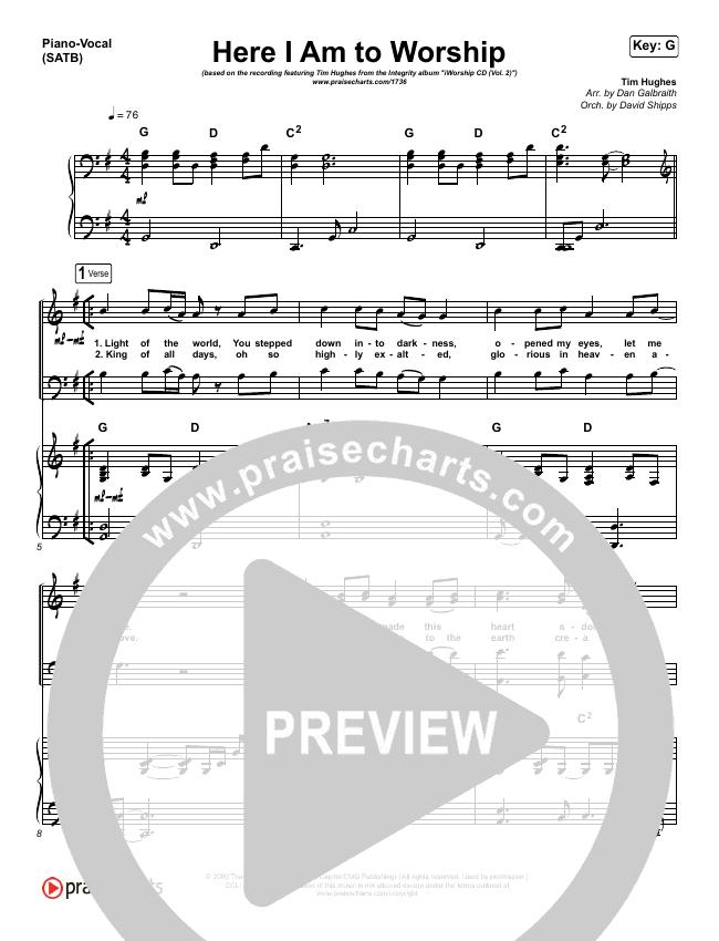 Here I Am To Worship Piano/Vocal (SATB) (Tim Hughes)