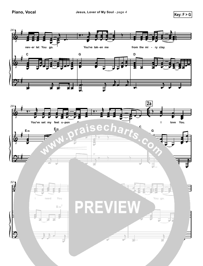 Jesus Lover Of My Soul Lead Sheet Pianovocal Hillsong Worship