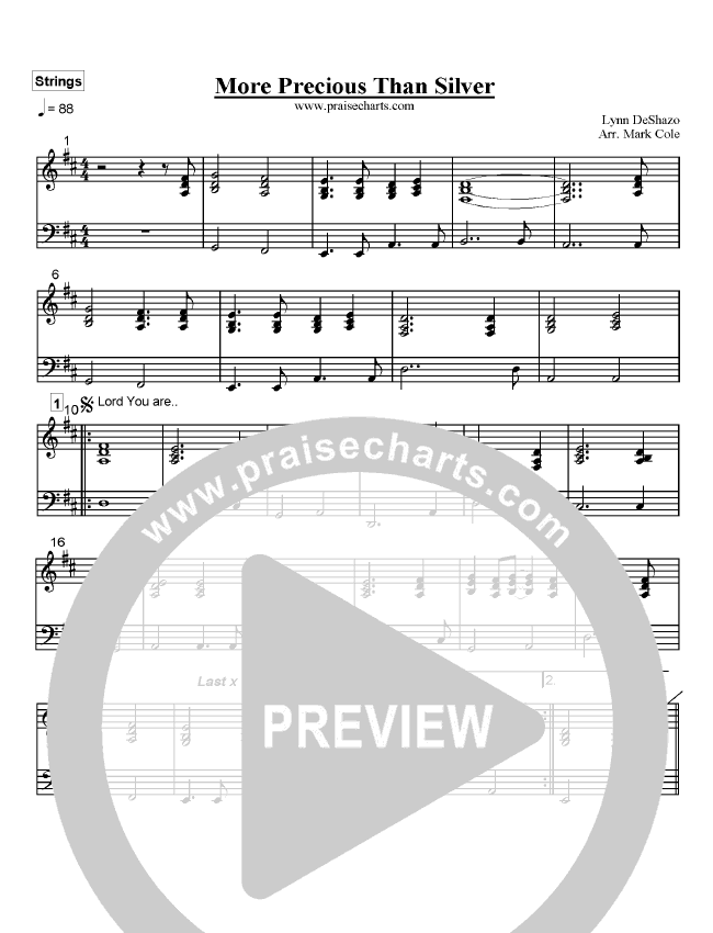 More Precious Than Silver Orchestration (Lynn DeShazo)
